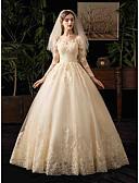 Χαμηλού Κόστους Νυφικά-Βραδινή τουαλέτα Bateau Neck Μακρύ Τούλι Μακρυμάνικο Απλό Εξώπλατο Φορέματα γάμου φτιαγμένα στο μέτρο με Διακοσμητικά Επιράμματα 2020