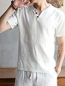 baratos Camisetas & Regatas Masculinas-Homens Tamanhos Grandes Camiseta - Bandagem Básico / Punk & Góticas Sólido / Galáxia / Gráfico Linho Decote V Azul Marinha / Manga Curta