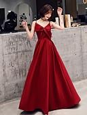 Χαμηλού Κόστους Φορέματα Παρανύμφων-Γραμμή Α Λεπτές Τιράντες Μακρύ Σατέν / Ελαστικό Σατέν Εμπνευσμένο από Βίντατζ Χοροεσπερίδα Φόρεμα 2020 με Φιόγκος(οι)