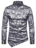 ราคาถูก เสื้อเชิ้ตผู้ชาย-สำหรับผู้ชาย ขนาดของยุโรป / อเมริกา เชิร์ต พื้นฐาน ฝ้าย ปกตั้ง สีพื้น สีเงิน / แขนยาว