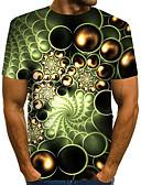 billige T-skjorter og singleter til herrer-Rund hals EU / USA størrelse T-skjorte Herre - Fargeblokk / 3D / Grafisk, Trykt mønster Gatemote / overdrevet Klubb Lysegrønn / Kortermet