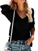 Χαμηλού Κόστους Γυναικεία Πουλόβερ-Γυναικεία Μονόχρωμο Μακρυμάνικο Πουλόβερ Πουλόβερ Jumper, Λαιμόκοψη V Μαύρο / Κρασί / Λευκό Τ / M / L