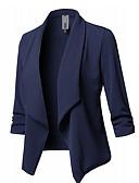 billige Blazere til damer-Dame Blazer, Ensfarget V-hals Polyester Svart / Vin / Hvit