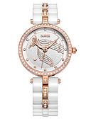 baratos Relógios-Mulheres Relógio Elegante Quartzo Cerâmica 30 m Luminoso Relógio Casual Analógico Luxo Elegante - Branco Um ano Ciclo de Vida da Bateria