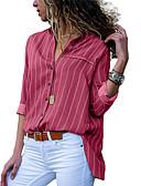 baratos Camisas Femininas-Mulheres Camisa Social Moda de Rua / Elegante Patchwork, Listrado Preto
