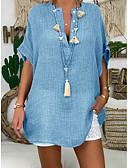 billige Bluser-Bomull Løstsittende V-hals Store størrelser Skjorte Dame - Ensfarget Grunnleggende / Gatemote Fuksia
