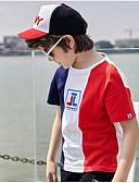 baratos Infantil Capéus e Bonés-Infantil Para Meninos Básico Sólido Manga Curta Algodão Camiseta Azul