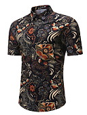olcso Férfi pólók-Férfi EU / USA méret Ing - Virágos Fekete / Rövid ujjú