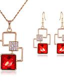 baratos Relógios de quartzo-Mulheres Vermelho Zircônia Cubica Sets nupcial Jóias Vertical Estiloso Chapeado Dourado Brincos Jóias Dourado Para Festa Diário 1conjunto