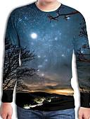 billige T-skjorter og singleter til herrer-Rund hals Store størrelser tunika Herre - Geometrisk / Galakse / 3D, Flettet / Trykt mønster Gatemote / overdrevet Svart og hvit Marineblå / Langermet