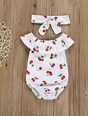 זול אוברולים טריים לתינוקות-חליפת גוף ללא שרוולים גיאומטרי / דפוס בנות תִינוֹק 2pcs