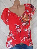 billige Toppe-Bomull Løstsittende V-hals Store størrelser T-skjorte Dame - Blomstret Rød