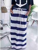 ราคาถูก กระโปรงผู้หญิง-สำหรับผู้หญิง ตรง Street Chic ขนาดใหญ่ กระโปรง - ลายแถบ สีน้ำเงิน &สีขาว ขาว M L XL