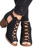 ราคาถูก ชุดเดรสพิมพ์ลาย-สำหรับผู้หญิง รองเท้าส้นสูง Block Heel เปิดนิ้ว PU ฤดูร้อน สีดำ / สีกากี