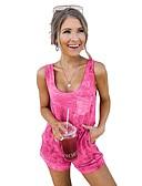 ราคาถูก จั๊มสูทและเสื้อคลุมสำหรับผู้หญิง-สำหรับผู้หญิง สีเหลือง สีน้ำเงิน ทับทิม Romper Onesie, สีพื้น / มัดย้อม S M L ฤดูใบไม้ผลิ ฤดูร้อน ตก