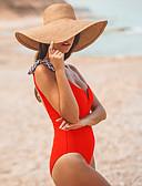 baratos Biquínis e Roupas de Banho Femininas-Mulheres Esportivo Básico Vermelho Bandeau Cavado Maiô Roupa de Banho - Sólido Cordões S M L Vermelho