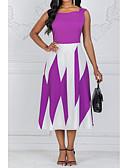 ราคาถูก ชุดเดรสพิมพ์ลาย-สำหรับผู้หญิง ขนาดพิเศษ ไปเที่ยว รูปตัว เอ แต่งตัว ลายบล็อคสี midi เอวสูง คอสี่เหลี่ยม