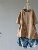 billige Skjorter til damer-Bomull Løstsittende Skjorte Dame - Ensfarget, Nagle / Lapper Vintage Hvit