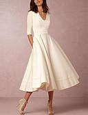ราคาถูก เดรสพลัสไซซ์-สำหรับผู้หญิง ขนาดพิเศษ ปาร์ตี้ ไปเที่ยว รูปตัว เอ แต่งตัว สีทึบ midi คอวีลึก White