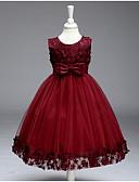 Χαμηλού Κόστους Λουλουδάτα φορέματα για κορίτσια-Πριγκίπισσα Μέχρι το γόνατο Φόρεμα για Κοριτσάκι Λουλουδιών - Βαμβάκι / Πολυεστέρας / Τούλι Αμάνικο Με Κόσμημα με Διακοσμητικά Επιράμματα