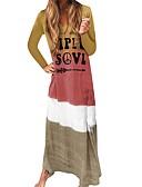 Χαμηλού Κόστους Ανδρικά μπλουζάκια και φανελάκια-Γυναικεία Καθημερινό Σε γραμμή Α Φόρεμα - Συνδυασμός Χρωμάτων Γράμμα Μακρύ Λαιμόκοψη V