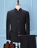 abordables Trajes-Hombre Tallas Grandes trajes, Un Color Escote Chino Poliéster Negro / Gris Oscuro / Azul Marino / Delgado