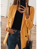 Χαμηλού Κόστους Blazers-Γυναικεία Μπλέιζερ, Μονόχρωμο Λαιμόκοψη V Πολυεστέρας Μαύρο / Ανθισμένο Ροζ / Κίτρινο / Λεπτό