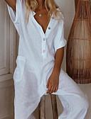 baratos Vestidos Longos-Mulheres Sofisticado Preto Vinho Branco Perna larga Macacão, Sólido Patchwork S M L Algodão