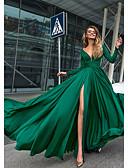 Χαμηλού Κόστους Βραδινά Φορέματα-Γραμμή Α Βυθίζοντας το λαιμό Μακρύ Σιφόν Ανοικτή Πλάτη Επίσημο Βραδινό Φόρεμα 2020 με Κρυστάλλινη λεπτομέρεια / Με Άνοιγμα Μπροστά