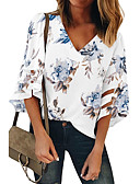 cheap Women's Blouses-Women's Daily Wear Basic Shirt - Floral Print V Neck Blue