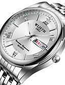 ราคาถูก นาฬิกาข้อมือสแตนเลส-สำหรับผู้ชาย นาฬิกาข้อมือสแตนเลส นาฬิกาอิเล็กทรอนิกส์ (Quartz) สไตล์ สแตนเลส เงิน 30 m กันน้ำ ปฏิทิน noctilucent ระบบอนาล็อก แฟชั่น - ขาว สีดำ ฟ้า สองปี อายุการใช้งานแบตเตอรี่