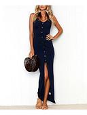 Χαμηλού Κόστους Γυναικεία Φορέματα-Γυναικεία Αργίες Παραλία Λεπτό Εφαρμοστό Φόρεμα - Μονόχρωμο, Σκίσιμο Μακρύ Τιράντες / Sexy