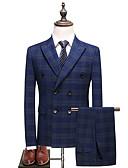 זול טוקסידו-פול מְשׁוּבָּץ גזרה רגילה פוליאסטר חליפה - סגור חזה כפול 6 כפתורים