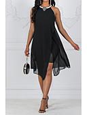 זול שמלות מודפסות-קולר מעל הברך פאייטים חרוזים שיפון שמלה גזרת A סווינג עבאיה רזה בוהו חגים חוף בגדי ריקוד נשים