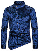baratos Camisas Masculinas-Homens Tamanho Europeu / Americano Camisa Social Sólido Colarinho Clerical Preto / Manga Longa