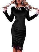 Χαμηλού Κόστους Ρομαντική Δαντέλα-Γυναικεία Εφαρμοστό Θήκη Φόρεμα - Μονόχρωμο, Δαντέλα Πούλιες Ως το Γόνατο
