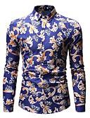 baratos Suéteres & Cardigans Masculinos-Homens Camisa Social Básico Geométrica Colarinho Clássico Azul / Manga Longa