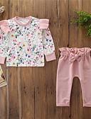 זול סטים של ביגוד לתינוקות-סט של בגדים כותנה שרוול ארוך פפיון / דפוס פרחוני ורד מאובק פעיל / בסיסי בנות תִינוֹק / פעוטות