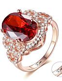 זול מחזיקים ומרכבים-מותאם אישית מותאם אישית אדום אודם טבעת זירקון קלאסי חרות מתנה הבטחה פֶסטִיבָל אובלי 1pcs אדום / חריתת לייזר