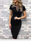baratos Vestidos de Festa-Mulheres Sofisticado Skinny Bainha Vestido - Renda Com Transparência, Sólido Gola Redonda Altura dos Joelhos