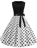 Χαμηλού Κόστους Βίντατζ Βασίλισσα-Γυναικεία Βίντατζ Κομψό στυλ street Λεπτό Little Black Φόρεμα - Πουά, Στάμπα Μίντι