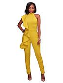 ราคาถูก จั๊มสูทและเสื้อคลุมสำหรับผู้หญิง-สำหรับผู้หญิง สีดำ ขาว สีเหลือง ชุด Jumpsuits, สีพื้น S M L