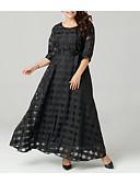 Недорогие Вечерние платья-Жен. Большие размеры Изысканный Свободный силуэт Платье - Однотонный, Аппликация Макси