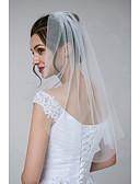 Χαμηλού Κόστους Πέπλα Γάμου-Μίας Βαθμίδας Klasika / Κλασσικό & Διαχρονικό Πέπλα Γάμου Πέπλα Μέχρι τον Ώμο με Μονόχρωμο Τούλι