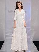 ราคาถูก Special Occasion Dresses-A-line คอวี ลากพื้น เส้นใยสังเคราะห์ / ลูกไม้ สะท้อนแสง ทางการ แต่งตัว กับ ขนนกหรือเฟอร์ โดย LAN TING Express