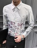 billige Skjorter-Skjorte Herre - Blomstret Grunnleggende Svart