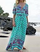 olcso Női ruhák-női maxi swing ruha v nyak bor világos kék khaki s m l xl