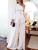 baratos Vestidos de Mulher-Mulheres Ombro a Ombro Branco Macacão, Sólido Assimétrico / com cinto M L XL Primavera Verão Outono / Inverno