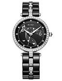 baratos Relógios-Mulheres Relógio Elegante Quartzo Cerâmica 30 m Luminoso Relógio Casual Analógico Luxo Elegante - Preto Um ano Ciclo de Vida da Bateria