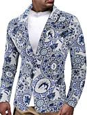 olcso Férfi zakók és öltönyök-Sálhajtóka Férfi EU / USA méret Öltöny Jacket - Virágos Fehér / Hosszú ujj